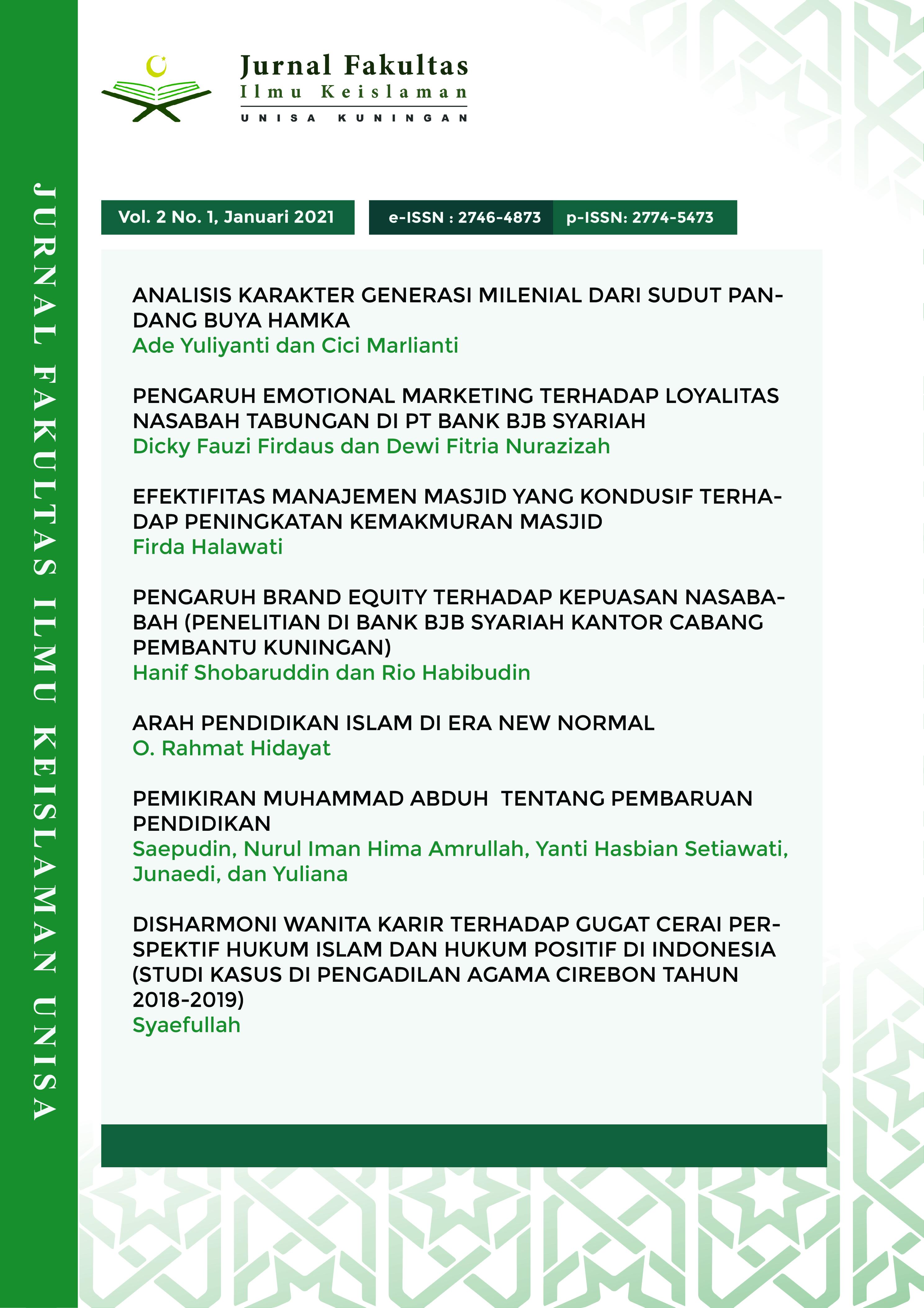 Arah Pendidikan Islam Di Era New Normal Jurnal Fakultas Ilmu Keislaman Kuningan
